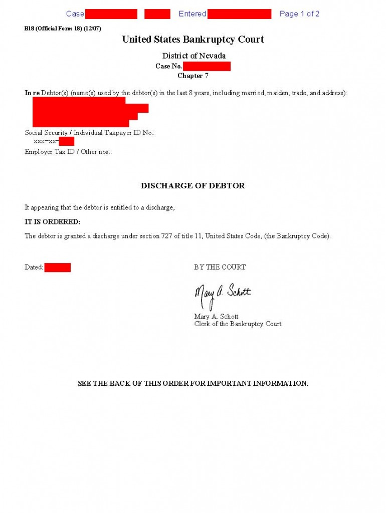 What do my bankruptcy discharge papers look like?